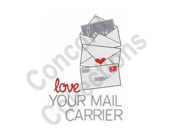 Love Your Mail Carrier - Machine Embroidery Design, Mail Carrier, Mail