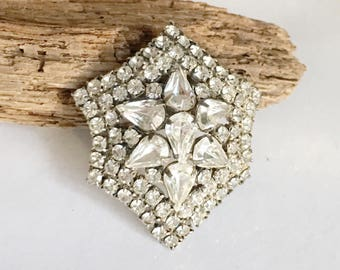 Vintage Clear Rhinestone Brooch, Vintage Bridal Jewelry, Juliana Vintage Brooch