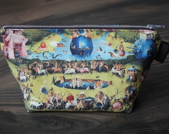 the garden of earthly delights - lined canvas zippered pouch - Hieronymus Bosch, 1480 - 1505