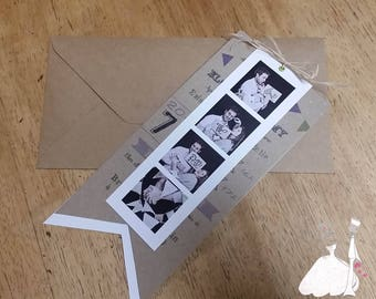 Vintage photo booth wedding announcements