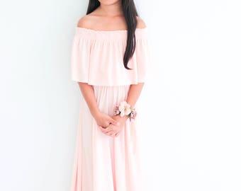Flower Gril Dress, Nude Pink Off The Shoulder Flower Gril Dress, Flower Gril dresses, Baby dresses