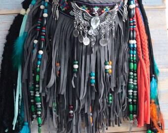 Hippie bag, gray boho bag, fringe handbag, embellished purse, colorful handmade bag, festival fringe bag, boho hippie bag,