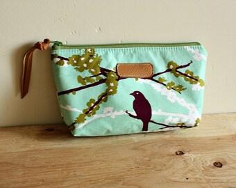 Bird Pouch/clutch/ Zipper purse/ makeup bag /leather trim- Ready