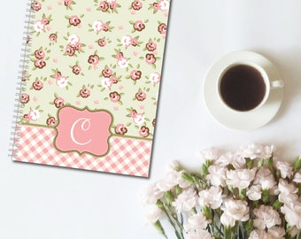 Country Chic Floral Monogram Personalized Spiral Notebook, Custom Notebook, Personalized Sketchbook, Personalized Journal