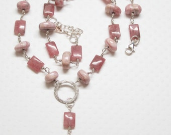 Pink Necklace, Pink Rhodochrosite Necklace, Rose Pink Necklace, Inca Rose Necklace
