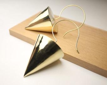 Brass Conical Earrings
