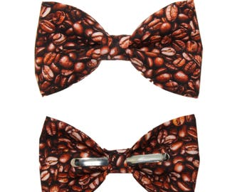 Coffee Beans Clip-On Cotton Bow Tie - Choice of Men's or Boys Sizes Clip-On Bowtie