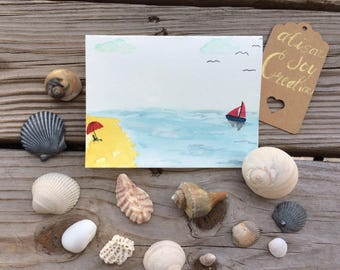 Beach card, hand-painted watercolor