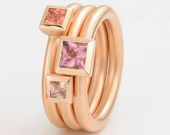 SAPHIR RING 18kt ROSEGOLD, Engagement, Wedding, Birthstone Stacking Ring, engagement ring set, engagement ring, valentines day gift