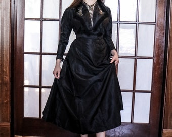 Vintage Victorian Black Mourning Dress 1800's- Exquisite Detailed Top - Not Wearable