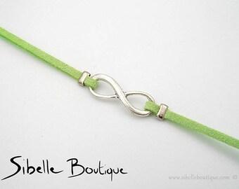 Infinity bracelet suede - green (B21-12)
