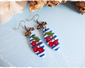 Polymer clay Cherry pinup earrings