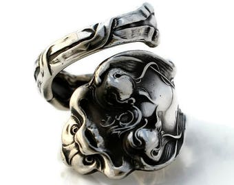 Spoon Ring Sterling Silver Douvaine by Unger 1890 Dolphin Size 6-15