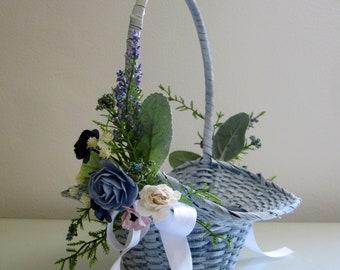 Flower Girl Basket, Blue Wicker Basket, Rustic Wedding, Easter Basket, White Woven Basket, Vintage Basket, Navy Flower Basket, Small Basket