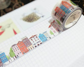Washi Tape, House Washi Tape, Street Washi, Building Washi, Planner Stickers, 30MM Washi, Cute Washi, Kawaii Washi, Thick Washi, Wide Washi