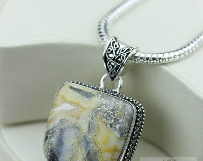 Crazy Lace Agate Vintage Filigree Setting 925 S0LID Sterling Silver Pendant + 4mm Snake Chain & FREE Shipping p3383