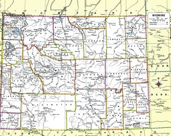 Wyoming Vintage Map Instant Download - 1980 - Printable Map, Home Library Decor, Wall Art, Antique Map