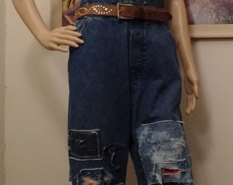 Up-cycled Distressed Bib Overalls Hippie Boho Festival Wear XS Union Bay