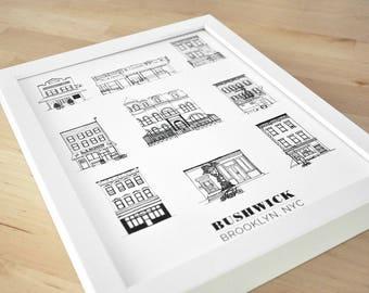 Bushwick, Brooklyn Illustration 11x14in Print
