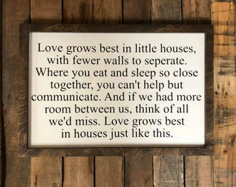 Love Grows Best Vinyl Sign, Painted Home Decor