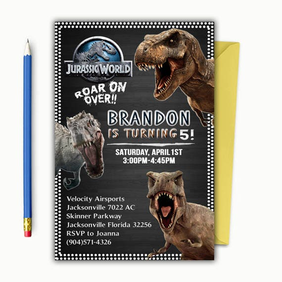 jurassic park invitation jurassic world invitations jurassic