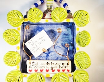 Ceramic Prayer Box with Leaves and Note Holder