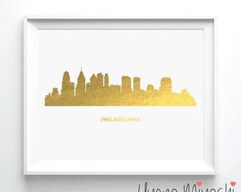 Philadelphia Skyline Gold Foil Print, Gold Print, Custom Print in Gold, Art Print, Philadelphia City Skyline Gold Foil Art Print