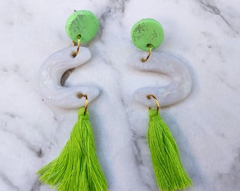 GREEN HILLS. Polymer clay light-weight earrings