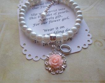 Personalized Flower Girl Bracelet, Pearl Flower Girl Bracelet, Personalized Childrens Bracelet, Personalized Kids Bracelet, Girls Jewelry