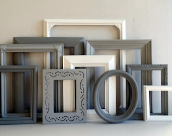 Gray Grey And White Frame Set - Custom Picture Frames - Vintage Ornate - Baby Nursery - Shabby Chic - Distressed - Gallery Wall - Weddings