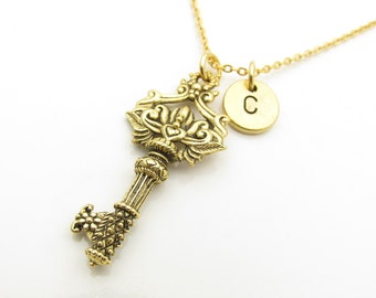 Key Necklace, Ornate Key with Heart Necklace, Personalized Initial Necklace, Antique Gold Key Necklace, Stamped Monogram Initial Letter Z316