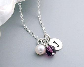 Birthstone Necklace, Custom Initial, Sterling Silver, Amethyst Crystal, February birthday, initial jewelry,bridesmaid gift