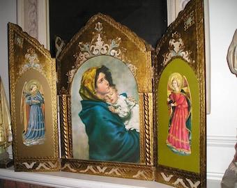 "Sale Vintage Enormous 27x21"" Italian Triptych Madonna/Baby Jesus Florentine Religious Icon.Gorgeous Holiday Display."