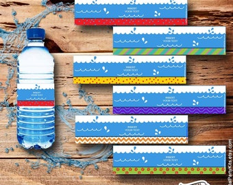 Pool Party Water Bottle Labels / Pool Party Drink Wrap - EDITABLE & PRINTABLE - Instant Download - by DigitalPartyKits