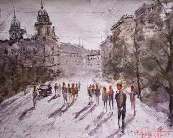 NIGHTTIME KIEV. Original watercolor painting