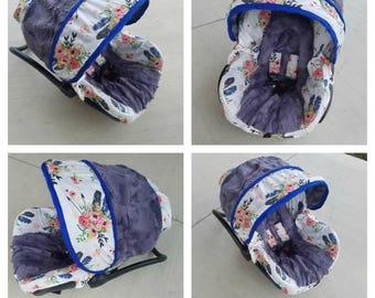 Boho Chic Car seat Cover, floral  infant car seat cover, girl car seat cover-FREE strap covers