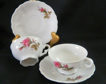 Demitasse Teacups and Saucers - Japan - Roses