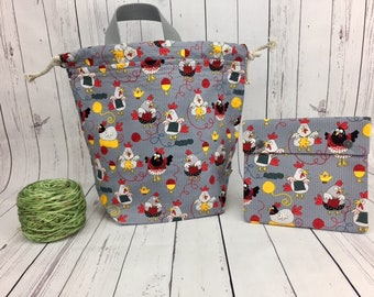 Knitting Chickens Bucket Bag AND Notions Case set, Knitting project bag, Crochet project bag,  Zipper Project Bag, Yarn bowl