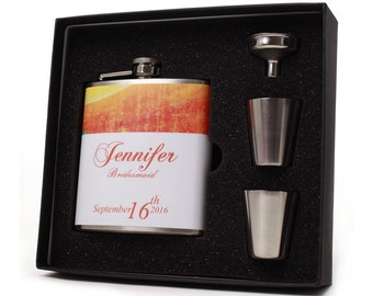 Personalized Flasks for Bridesmaids, Maid of Honor, Orange