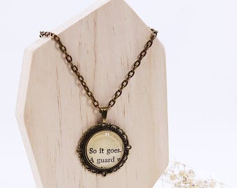 So it goes reclaimed book page pendant necklace.  Kurt Vonnegut Literary Necklace
