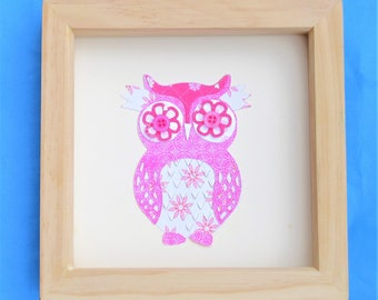 owl picture for a box frame / cute owl wall art / owl art / ideal gift / a pink owl picture handmade using scrapbook paper