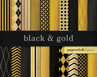 Black and Gold Digital Paper - Chevron Paper - Distressed Digital Paper - Harlequin Pattern - Quatrefoil Instant Download - 20 Sheets