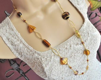 Venetian Murano Glass Gold, Copper, and Bronze Extra Long Necklace and Earring Set