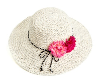 Straw hat for women , Sun hat , Floppy hat , decorated with pair of pink flowers.