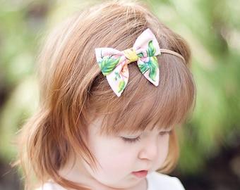 Hair Bow, Sailor Bow, Bow Headband, Headband, Fabric Hair Bow, Hair Clip, Baby Bow, Nylon Headband, Alligator Clip - Jardin De Paris Peony