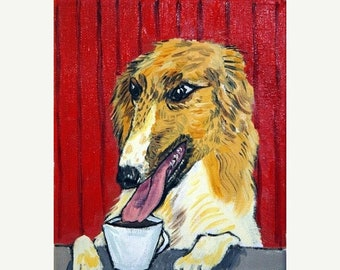 25% off Borzoi at the Coffee Shop Dog Art Print