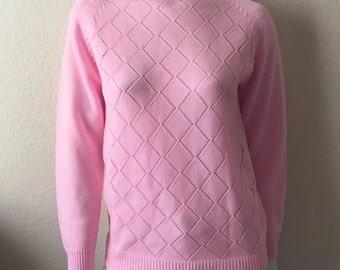 Vintage Women's 70's Pink Sweater, Acrylic, Long Sleeve, Knit (L)