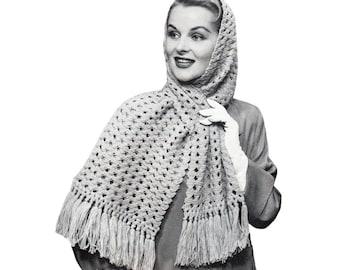 Knit Scarf Pattern 1940s Vintage Lacy Scarf Knitting Pattern Criss Cross Scarf Digital Download PDF - K61