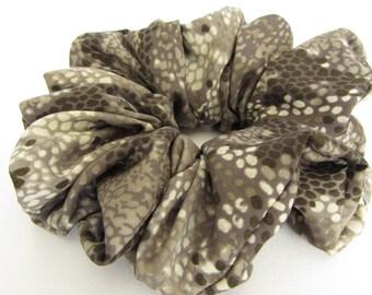 Taupe Snake Skin Hair Scrunchie - #65 - Gray Hair Accessories - Handmade by Just Scrunchies - Office - Yoga - Beach - Hair Ties and Elastic