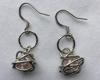 Caged Bead Wire Wrapped Earrings